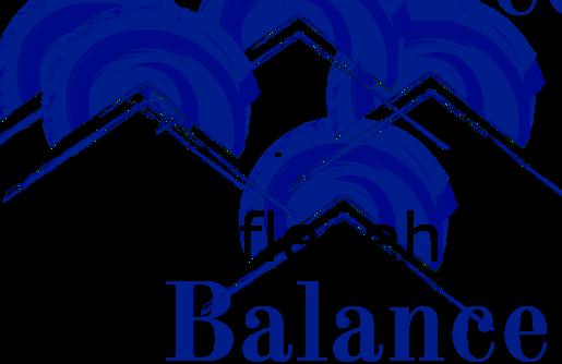 Tagespflegehaus Balance Logo in der Form eines Gebäudes. Fundament des Gebäudes Firmenname